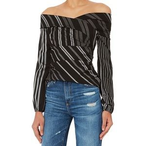 NWOT Intermix Tonya Off Shoulder Striped Blouse